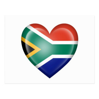South African Heart Flag on White Postcard