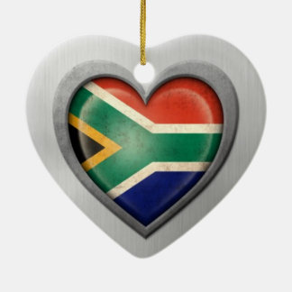 South African Heart Flag Stainless Steel Effect Double-Sided Heart Ceramic Christmas Ornament