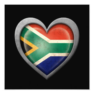 South African Heart Flag with Metal Effect Card