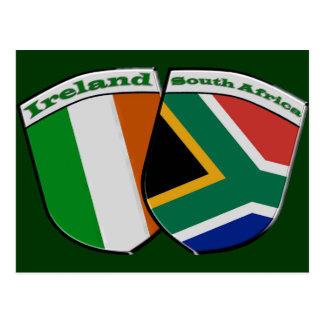 South African & Irish Flag Friendship Badges Postcard