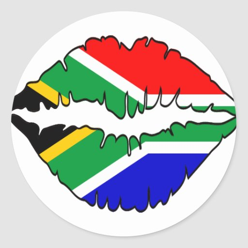 South African Kiss Theme Round Stickers