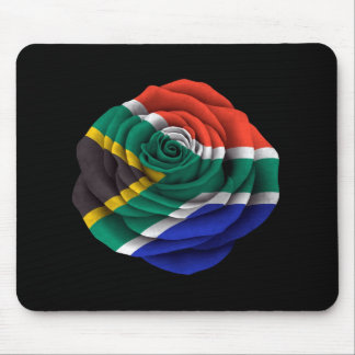South African Rose Flag on Black Mouse Pad