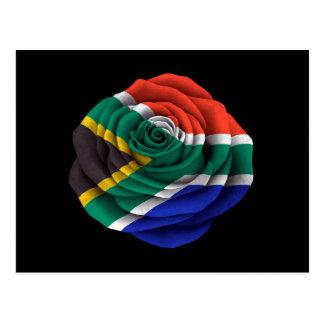 South African Rose Flag on Black Postcard