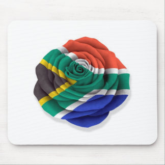 South African Rose Flag on White Mouse Pad