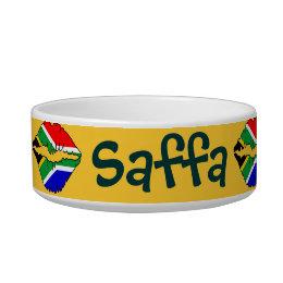 "South African ""Saffa Pooch"" Flag Kiss Pet Bowl"