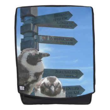 South African Signpost   Penguins Adult Backpack by Edelhertdesigntravel at Zazzle
