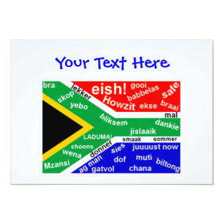 "South African Slang Invitation - Customizable 5"" X 7"" Invitation Card"