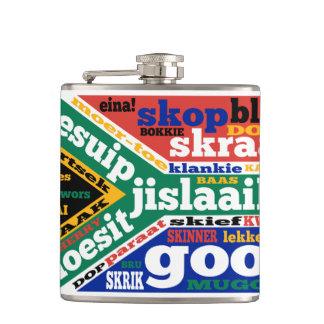 South African Slang on flag Hip Flasks