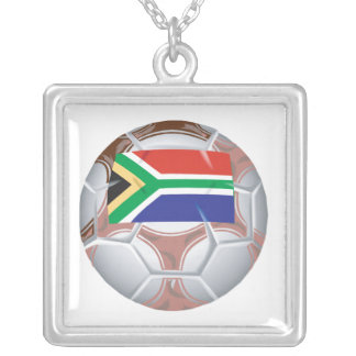 South African Soccer Ball Square Pendant Necklace