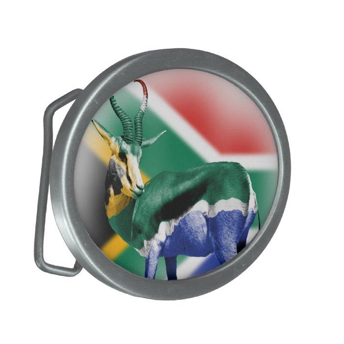 South African Springbuck Flag Belt Buckle