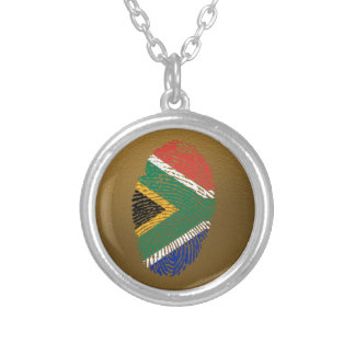 South African touch fingerprint flag Round Pendant Necklace