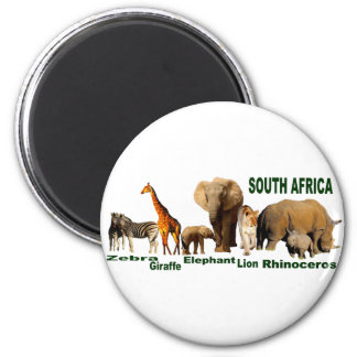 South African Wildlife 2 Inch Round Magnet