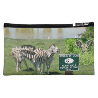 South African Zebras and Lions Cosmetic Bag