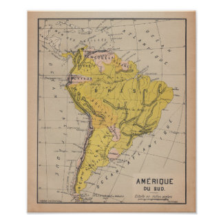 South America 1920 French Antique Map Poster