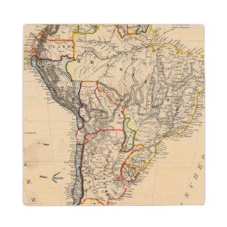 South America 25 Maple Wood Coaster