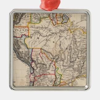 South America 25 Square Metal Christmas Ornament