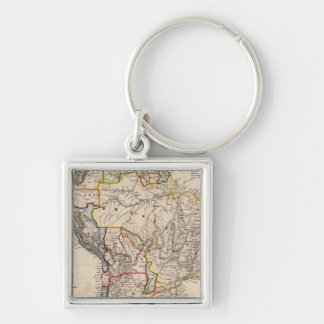South America 25 Silver-Colored Square Keychain