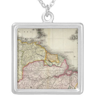 South America and West Indies 2 Square Pendant Necklace