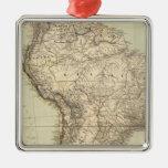South America Atlas Map Metal Ornament