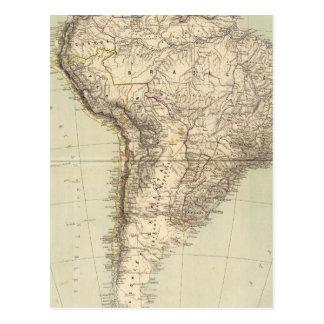 South America Atlas Map Postcard