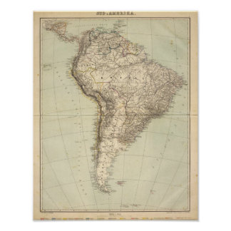 South America Atlas Map Poster