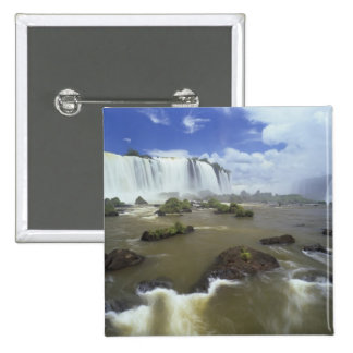 South America, Brazil, Igwacu Falls. Towering Pinback Button