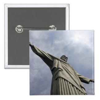South America, Brazil, Rio de Janeiro. Christ 3 2 Inch Square Button