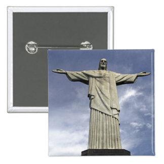 South America, Brazil, Rio de Janeiro. Christ 2 Inch Square Button