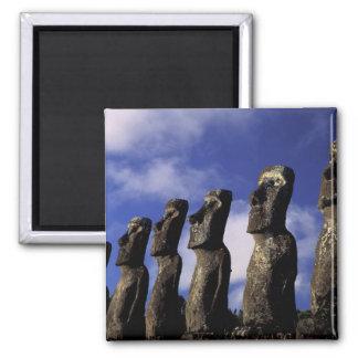 South America, Chile, Easter Island, Ahu Akiri. 2 Inch Square Magnet