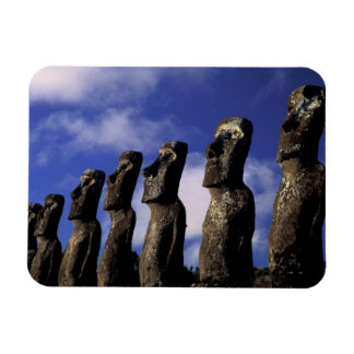 South America, Chile, Easter Island, Ahu Akiri. Rectangular Photo Magnet