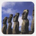 South America, Chile, Easter Island, Ahu Akiri. Square Stickers