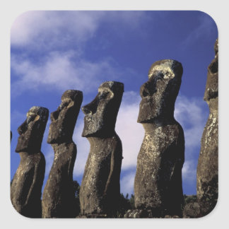 South America, Chile, Easter Island, Ahu Akiri. Square Sticker