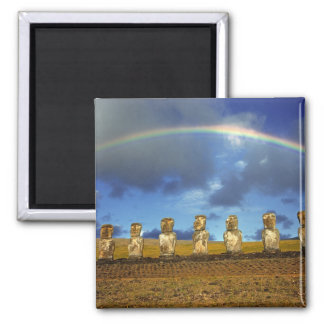 South America, Chile, Easter Island. The full 2 Inch Square Magnet