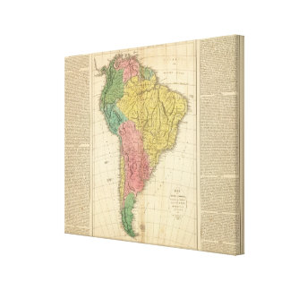 South America History Map Canvas Print