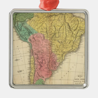 South America History Map Metal Ornament