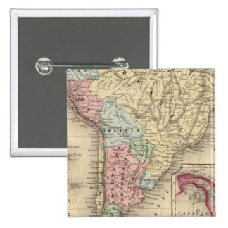 South America Map by Mitchell Pinback Button