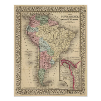South America Map by Mitchell Posters
