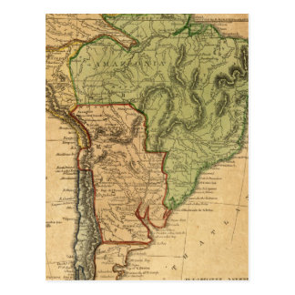 South America  Map by Worcester Postcard