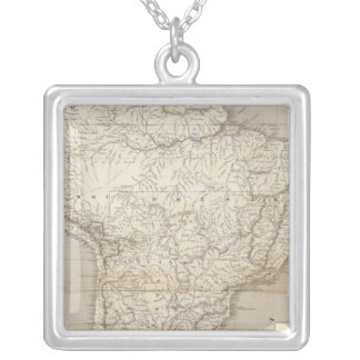 South America map Square Pendant Necklace
