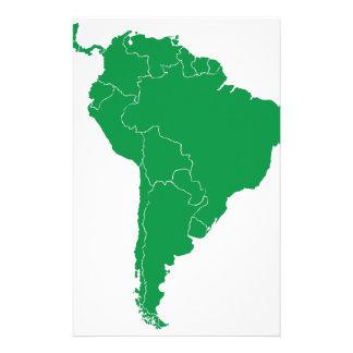 South America Map Stationery