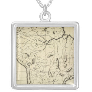 South America outline Square Pendant Necklace