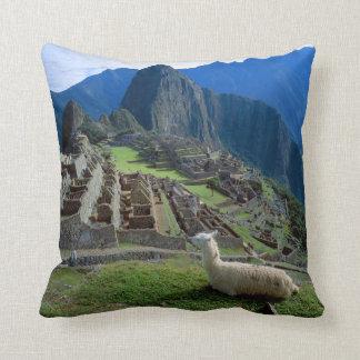 South America, Peru. A llama rests on a hill Pillow
