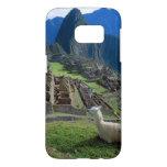 South America, Peru. A llama rests on a hill Samsung Galaxy S7 Case