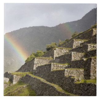 South America, Peru, Machu Picchu. Rainbows over Ceramic Tile