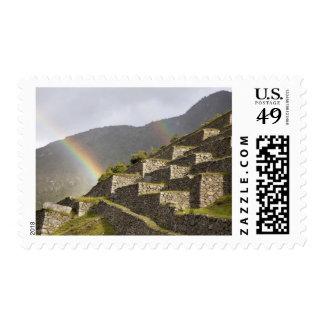 South America, Peru, Machu Picchu. Rainbows over Postage Stamps