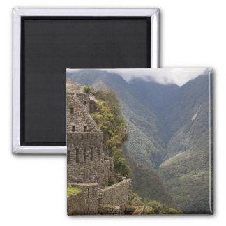 South America, Peru, Machu Picchu. Stone ruins 2 Inch Square Magnet