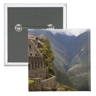 South America, Peru, Machu Picchu. Stone ruins Button