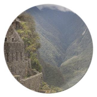 South America, Peru, Machu Picchu. Stone ruins Dinner Plate