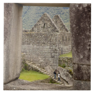 South America, Peru, Machu Picchu. Two tourists Ceramic Tile