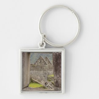 South America, Peru, Machu Picchu. Two tourists Key Chains